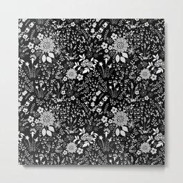 Star Sapphire Floral Celebration White on Black Metal Print