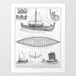 Vintage Viking Naval Ship History and Diagram Art Print