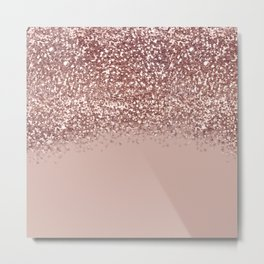 Glam Rose Gold Pink Glitter Gradient Sparkles Metal Print