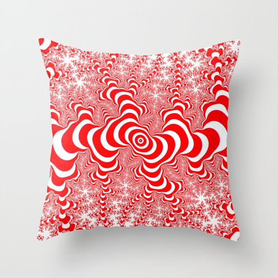 red and white fractal Throw Pillow