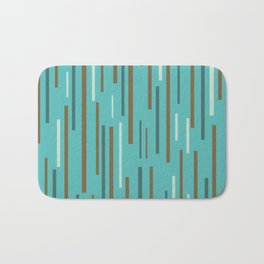 Interrupted Lines Mid-Century Modern Minimalist Pattern in Turquoise and Brown Bath Mat