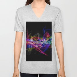 Colorful musical notes and scales artwork Unisex V-Neck