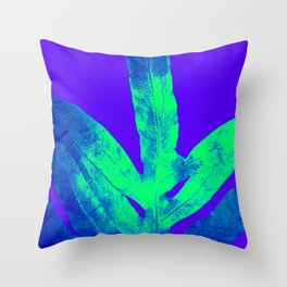 Blue Ultraviolet Green Earth Day Fern Throw Pillow