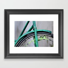 Green bike Framed Art Print