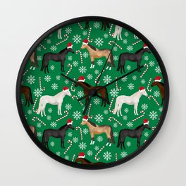 Horse Christmas - christmas, xmas, peppermint, candy cane, red and green, snowflake, holiday, horse Wall Clock