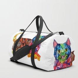 Colourful Geomatric Cat Duffle Bag