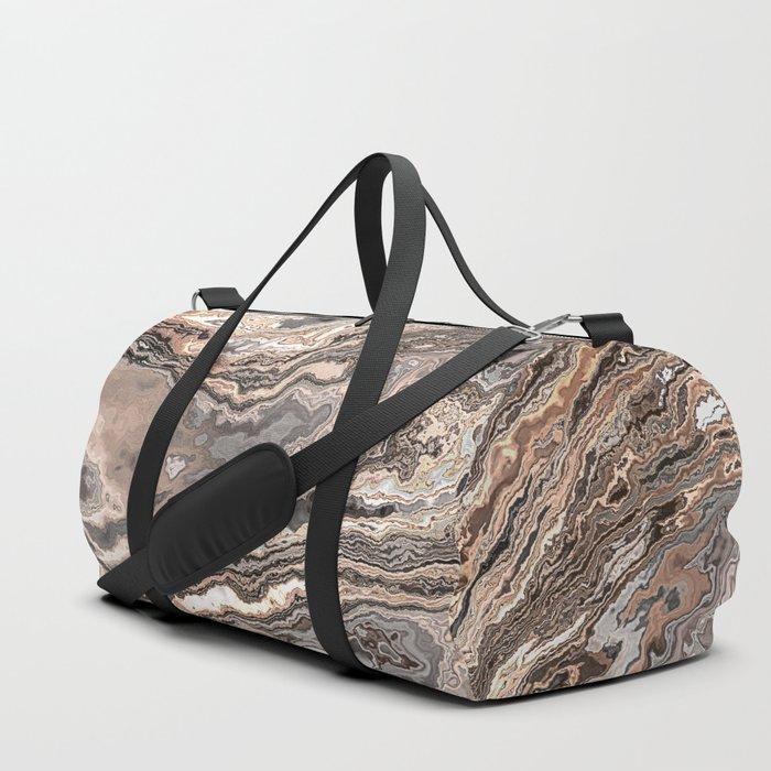 Brown Marble Texture Duffle Bag