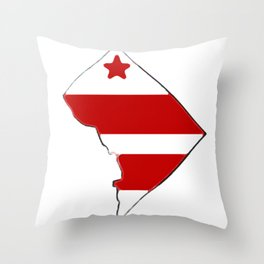 Washington DC District of Columbia Map with Flag Throw Pillow