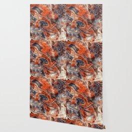 Orange marble watercolor Wallpaper
