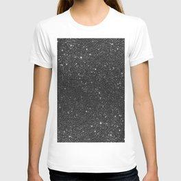 Modern chic elegant trendy faux black glitter T-shirt
