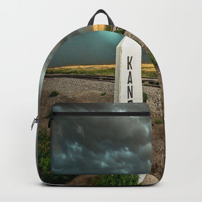 Welcome to Kansas - Railroad Sign and Storm Backpack