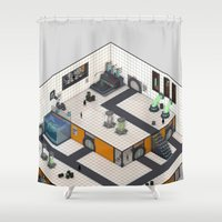 monster inc Shower Curtains featuring Monster Labs Inc. by Allen Amin