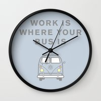 vw bus Wall Clocks featuring VW Bus love by Old & Brave