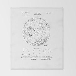 Buckminster Fuller 1961 Geodesic Structures Patent Throw Blanket