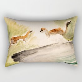 Stoat in the sunset (watercolor) Rectangular Pillow