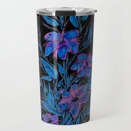 Blue and Purple Flowers on Black Travel Mug