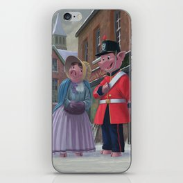 Victorian pigs on a romantic date in snowy street iPhone Skin