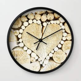 heart wood Wall Clock