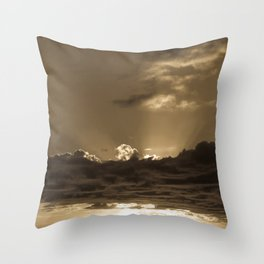 Sunset Soufriere (Sepia) Throw Pillow