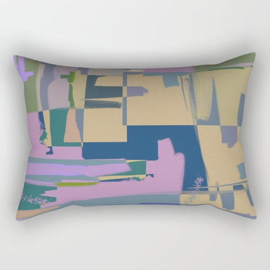 Pale Existence - Abstract, pastel purple, blue, mustard and green painting Rectangular Pillow