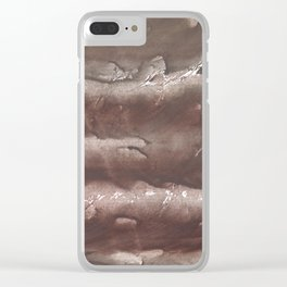 Brown Olive green stained watercolor pattern Clear iPhone Case