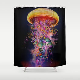 Electric Jellyfish In your Hands Shower Curtain