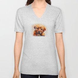 Watercolour Cute Puppy Face Unisex V-Neck