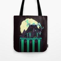titan Tote Bags featuring Moonlit Titan by badOdds