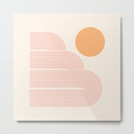 Mid Century Modern Geometric 59 in Coral Shades (Rainbow and Sunrise Abstraction) Metal Print