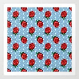 Beautiful Protea Pattern - White Polka Dots on Blue - Australian Native Flowers Art Print