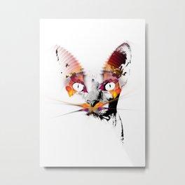 magic cat black and white #cat #kitty Metal Print