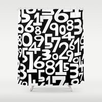 numbers Shower Curtains featuring Monochrome numbers by turbo1019