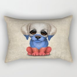 Cute Puppy Dog with flag of Russia Rectangular Pillow