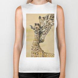 baby giraffe and mom Biker Tank