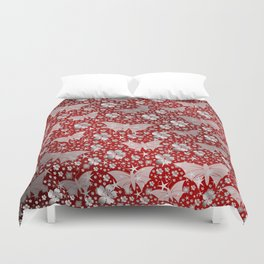silver, red,flowers, stars, butterfly, pattern, bright, shiny, elegant, color Duvet Cover