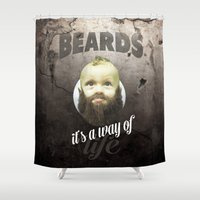 toddler Shower Curtains featuring Beard boy by HappyMelvin