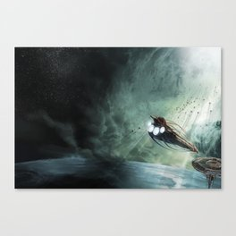 The Intrepid arrives at Carthage - Green Clouds Canvas Print