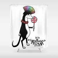 rock n roll Shower Curtains featuring Rock n' Roll Pooch by Elspeth Rose Design