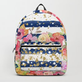Watercolor floral stripes and confetti design Backpack