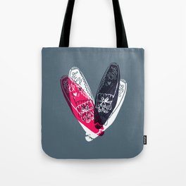 moccasin red and blue Tote Bag