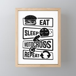 Eat Sleep Motocross Repeat - Motorcycle Motorsport Framed Mini Art Print