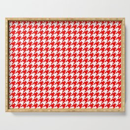Scarlet Houndstooth Serving Tray