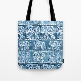 ELEPHANT SAFARI Tribal Indigo Ikat Pattern Tote Bag