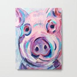 Purple Pig Metal Print