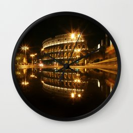 Colosseum reflection at night Wall Clock
