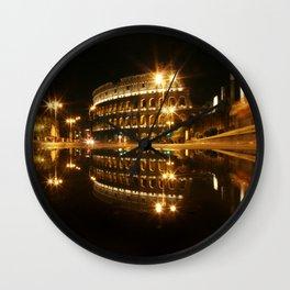 Colosseum reflection at night Wall Clock
