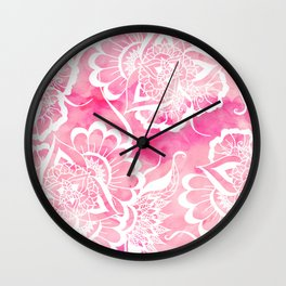 Modern boho pink watercolor white floral mandala  pattern Wall Clock