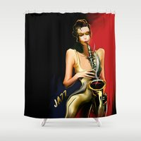 saxophone Shower Curtains featuring jazz by tatiana-teni