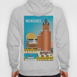 Milwaukee, Wisconsin - Skyline Illustration by Loose Petals Hoody