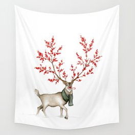 Rudolph the Winterberry Antler'd Reindeer Wall Tapestry